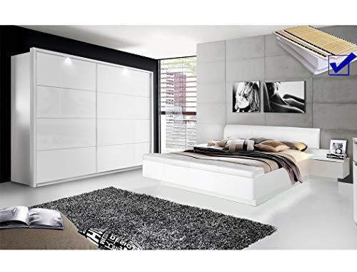 expendio Schlafzimmer Sophie 20D weiß teilweise Hochglanz Doppelbett mit 2X Nako Lattenrost Matratze Schwebetürenschrank mit Beleuchtung