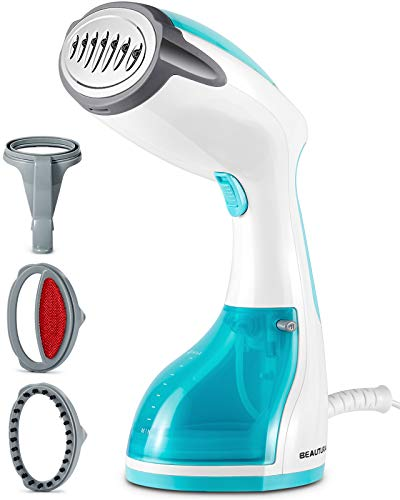 BEAUTURAL Steamer for Clothes with Pump Steam Technology, Portable Handheld Garment Fabric Wrinkles Remover, 30-Second Fast Heat-up, Auto-Off, Large Detachable Water Tank