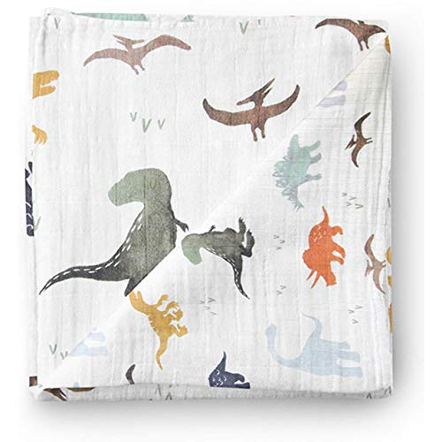 Product Image of the Aenne Baby Muslin Baby Swaddle Blanket Dinosaur Dino Print, Luxurious, Soft and...