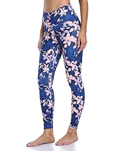 Colorfulkoala Women's High Waisted Pattern Leggings Full-Length Yoga Pants(L, Blue Pink & Mauve Floral)
