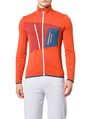 ORTOVOX Fleece Grid Jacket Giacca da uomo, Uomo, giacca, 87212, Deserto Arancione, S