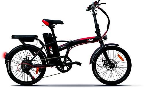 the one, Foldable CITY bike Unisex adulto, Nero/Rosso
