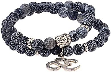 TranTran NTP Antique Yoga Om Charm Metal Pendant Buddha Men Bracelet JewelryTiger Eye Stone Lava Rock Buddhist Prayer Bracelets