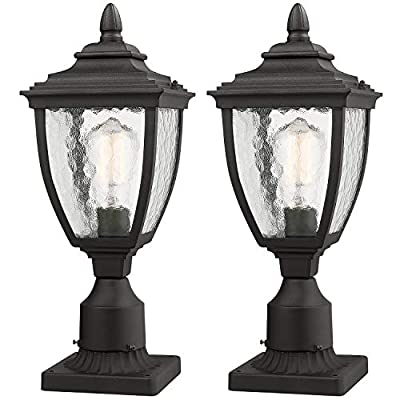 "Beionxii Outdoor Post Lantern | 2 Pack Exterior Post Light Fixture with 3-Inch Pier Mount Base, Sand Textured Black Die-cast Aluminum with Water Glass(6.9""W x 18.6""H) - A162P-2PK"