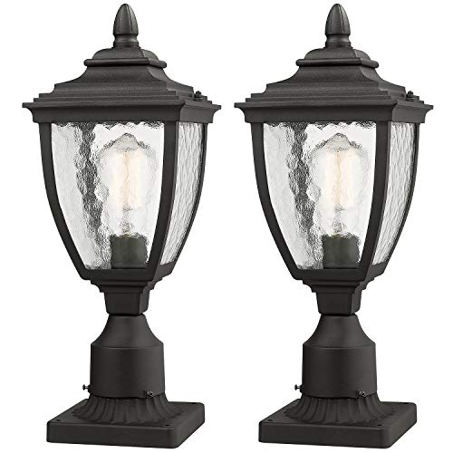 Beionxii Outdoor Post Lanterns | Set of 2 Exterior Post Light Fixture with 3-Inch Pier Mount Base, Sand Textured Black Die-cast Aluminum with Water Glass(7
