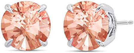 Nicole Miller Fine Jewelry Sterling Silver with 9mm Round Cut Simulated Morganite Stud Earrings product image