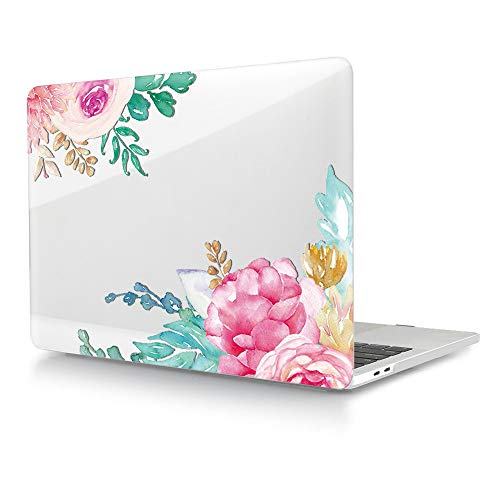 HRH Watercolor Rose Clear Glossy Design Laptop Body Shell Protective Hard Case for MacBook Newest Air 13\' Inch with Retina Display fit Fingerprint Touch ID (Model A1932,2018 Release)
