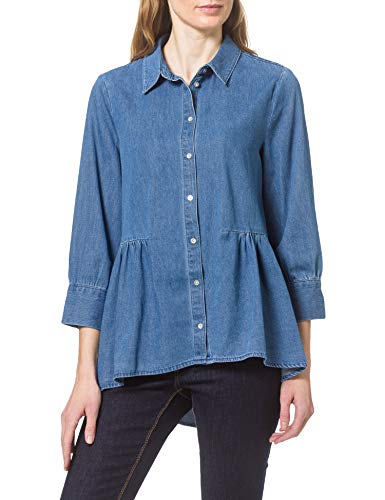 ONLY Damen Onlnew Canberra AUTH DNM Shirt QYT Bluse, Light Medium Blue Denim, S