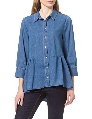 ONLY Damen Onlnew Canberra AUTH DNM Shirt QYT Bluse, Light Medium Blue Denim, XL