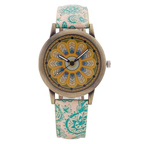 JZDH Relojes de Las Mujeres Retro Señoras De La Impresión Étnica Ver Ver Chicas Damas De Bronce De La Correa De Reloj De Cuarzo Señora Reloj (Color : Green)