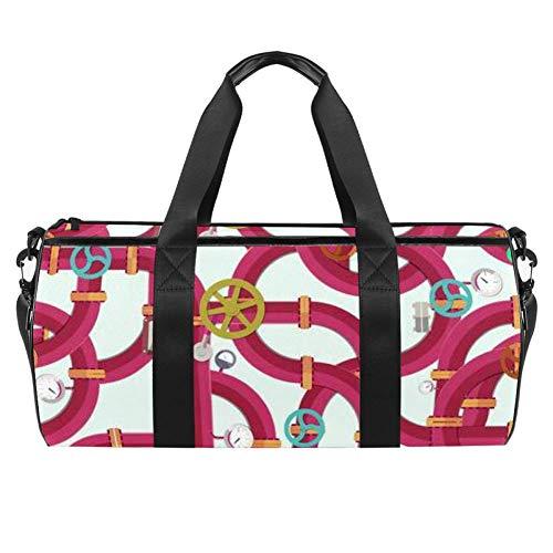 Water Pipeline Pattern Duffel Shoulder Carry Bag Canvas Travel Bag for Gym Sports Dance Travel Weekender