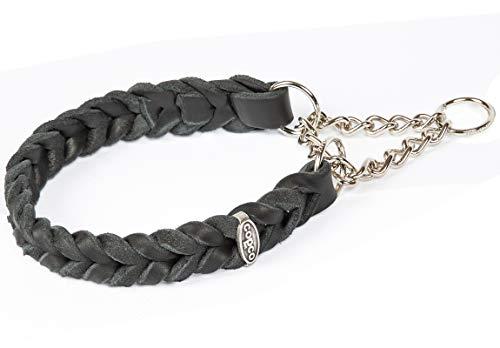 CopcoPet - Fettleder Halsband geflochten mit Zugstop - Kette, Schwarz 35-40 cm x 20 mm