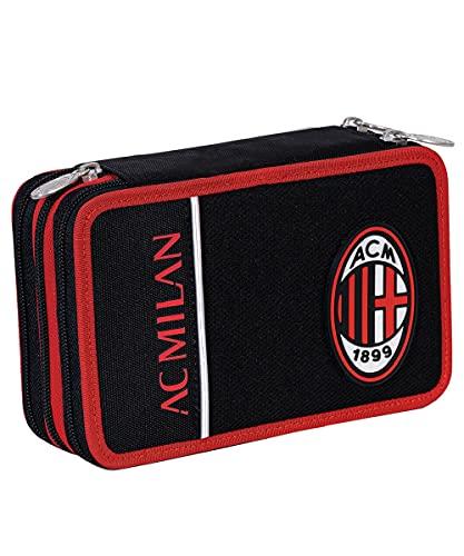 Seven Astuccio 3 Scomparti Milan, Winners Club, Rosso e Nero, Completo di Matite, Penne,...