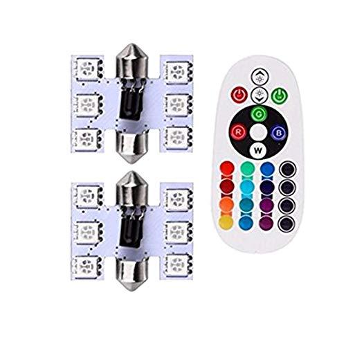 XIAOYAFANG Hxfang 9 Colores 39mm (1,53 Pulgadas) 6 SMD Colorido 5050 RGB LED Festoon Bulbs Lámpara Luz Interior de automóvil con Control Remoto Paquete de 2 Hot Now
