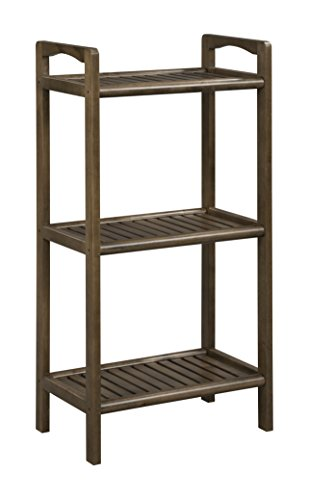 New Ridge Home Goods Abingdon Solid Birch Wood 3 Shelf Tower, Antique Chestnut