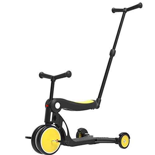ZLASS Kinderroller, 5-in-1-Multifunktions-Dreirad-Laufrad mit Klappsitz und Schubstange, geeignet für Mädchen und Jungen im Alter von 1 bis 6 Jahren