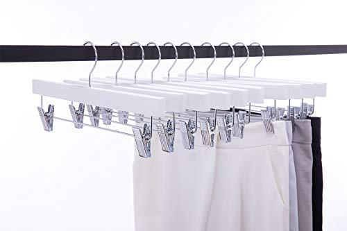 Cocomaya Pack de 10 Perchas de Madera Maciza Perchas para Pantalones Perchas para Pantalones Perchas con 2 Clips de Metal...