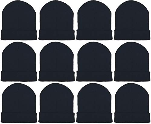 12 Pack Winter Beanies, Unisex, Warm Cozy Hats Foldover Cuffed Skull Cap (12 Pack Black)
