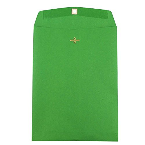 JAM PAPER 9 x 12 Colored Envelopes with Clasp Closure - Green Recycled - 100/Pack