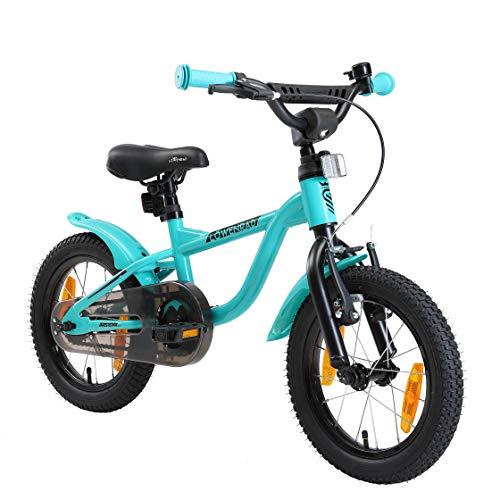 LÖWENRAD Kinderfahrrad für Jungen und Mädchen ab 3-4 Jahre | 14 Zoll Kinderrad mit Bremse | Fahrrad für Kinder | Mint
