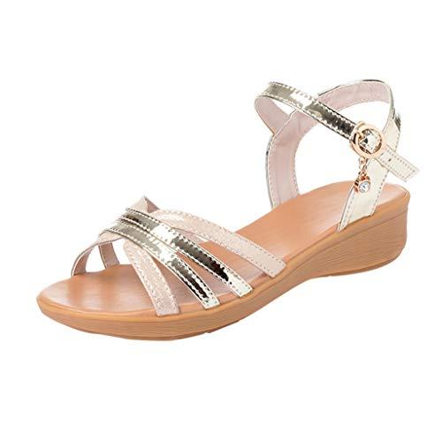 HDUFGJ Damen Sommer Sandalen Freizeit Schnalle Wedge Peeptoe Sandalen Outdoor-Schuhe Wedges Clogs komfortable Zehentrenner Leder Bequeme41(Gold)