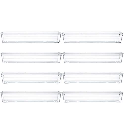 """Backerysupply Clear Plastic Drawer Organizer Trayfor Vanity Cabinet(12""""×3""""×2"""",Set of 8),Storage Tray for Makeup, Kitchen Utensils, Jewelries, and Gadgets"""