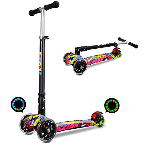 IMMEK Patinete Plegable con 4 Ruedas PU con Led Luces Altura
