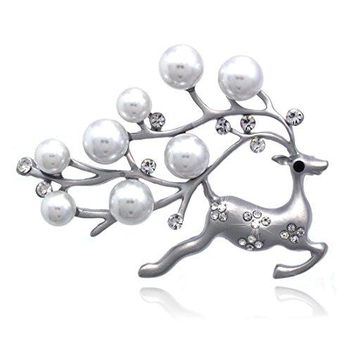 cocojewelryクリスマスサンタCauseトナカイ人工パールピンブローチHolidayジュエリー