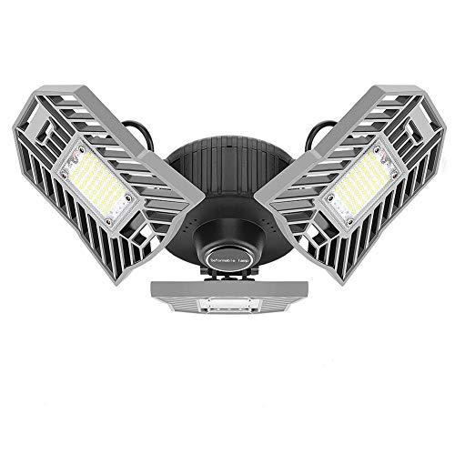 Linkax LED Garagenleuchten,60W 6000LM Garagenlicht Lampen Garage Licht Werkstattlampe mit 3 verstellbaren Panelsfür Garage, Lager, Werkstatt, Keller, Turnhalle, Küche