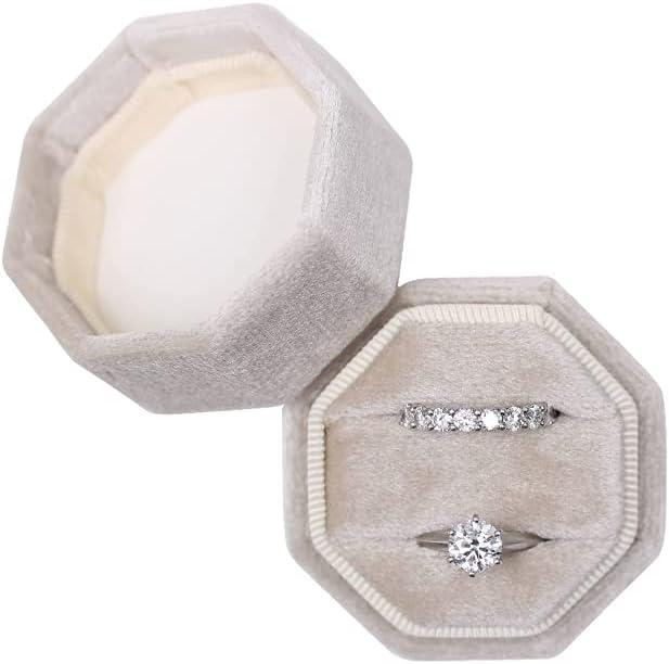 Velvet Jewelry Ring Box Engagement Wedding Box Keepsake Box Bridal Photo Ring Double Slots Octagon (Beige)