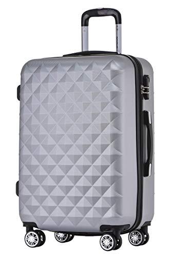 BEIBYE Zwillingsrollen 2066 Hartschale Trolley Koffer Reisekoffer Gepäck M-L-XL-Set (Silber, L)