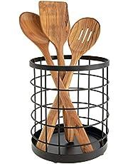 iDesign Porta utensilios de cocina para la encimera, portacubiertos redondo de metal con diseño de rejilla, escurre cubiertos de cocina, negro mate