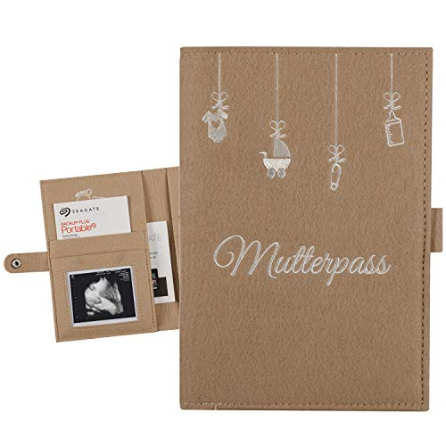 Mutterpasshülle aus Filz - Mutterpasstasche - Mutterpassorganizer mit vielen Taschen für Ultraschallbilder Mutterpass Krankenkassenkarte | Geschenk für Schwangere (Beige)