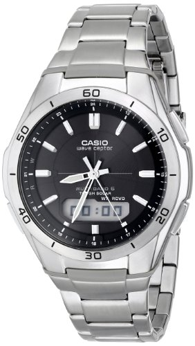 Casio Men's WVA-M640D-1ACR Wave Ceptor Analog-Digital Display Quartz Silver Watch