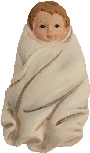 Statuina accucciata, Gesù bambino in bianco Panno Altezza circa 4,5cm