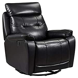 Leather Glider and Swivel Recliner with USB Port in Black-Rocking Chair-Rocking Chair for Nursery-Baby Rocker-Glider Rocker with Ottoman-Glider Rocker-Rocker Recliner-Nursery Rocking Chair