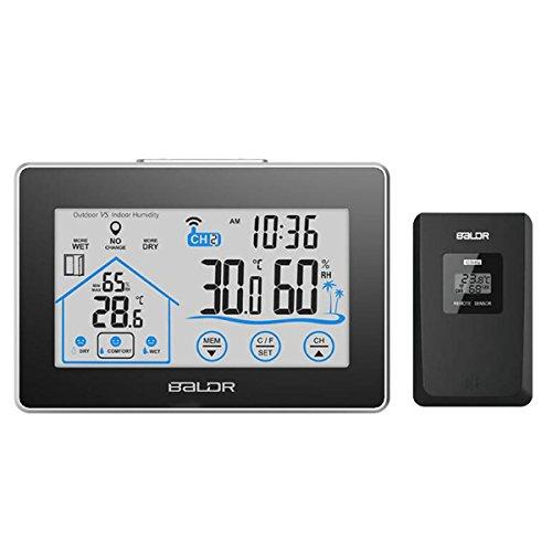 GAOHAILONG Baldr électronique Thermomètre à écran Tactile intérieur et extérieur hygromètre Météo Station Launcher Multi-Channel Clock