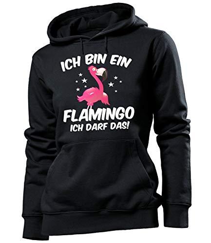 Golebros Ich Bin EIN Flamingo Ich darf das Geburtstag Geschenke Damen Frauen Hoodie Pulli Sweatshirt Kapuzen Pullover lustig witzig Fun Comedy Bekleidung Oberteil Kleidung Outfit