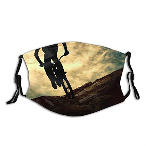 Face Cover Sport Silhouette of Man On Muontain Bike Sunset Adventure Mountain Bicycle Balaclava Unisex Reusable Windproof Anti-Dust Mouth Bandanas Outdoor Camping Running for Teen Men Women