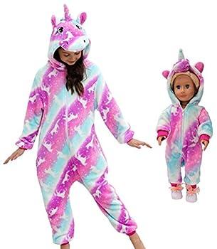 Unicorn Pajamas Onesie Costume Matching Doll & Girls Gifts  Purplishrose 5-6Years