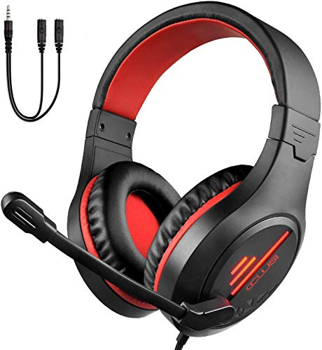COLUSI Super Lightweight Gaming Headset Xbox One Headset,PS4 Headset with Mic&LED Light,Compatible with PC,Laptop,PS4,Xbox One Conntroller(Adapter Not Included),Ipad,Mobile Phone(Red)