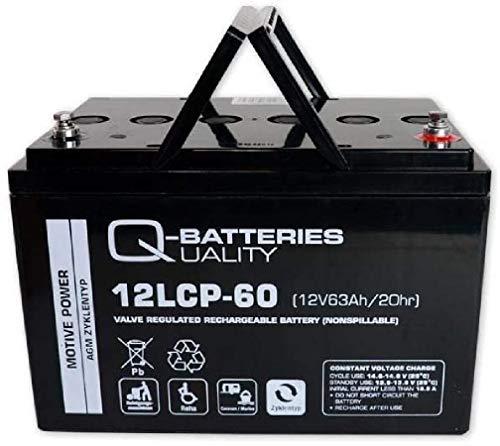 Q-Batteries 12LCP-60 / 12V - 63Ah (C20) Blei Akku Zyklentyp AGM - Deep Cycle VRLA