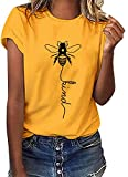 Voqeen Women's Bee Kind T-Shirt Casual Round Neck Short Sleeve Tunic Tops Bee Graphic Pullover Tees Blouse for Outdoor Summer Yellow