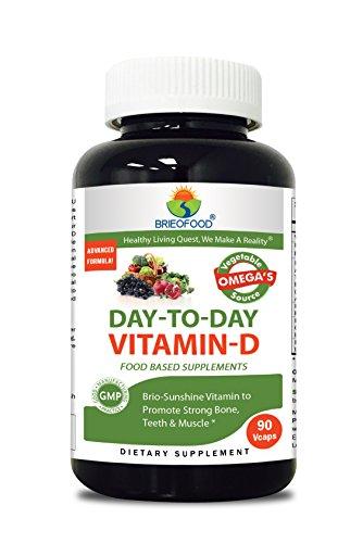 Brieofood Food Based Vitamin D 5000 IU 90 Vcaps - Premium Formula with Brieofood Fruit & Vegetable Blends, Digestive Blend, Vegetable Omega Blend