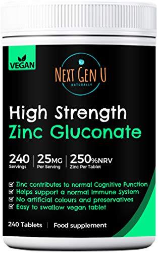 High Strength Zinc Gluconate Tablets – 240 Vegan Tablets | 250% NRV Zinc per Serving | High Strength Zinc Gluconate Formula | Supports Immunity | No Preservatives Gluten Free | 8 Months Supply