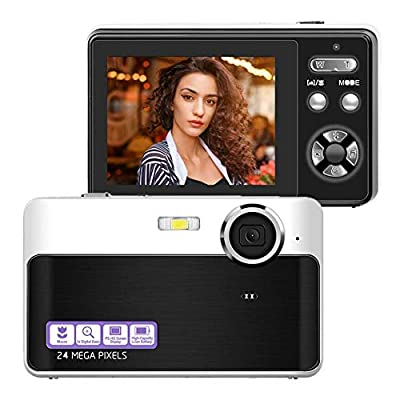Digital Camera, 24MP Portable Point and Shoot Camera with Macro Function, 2.4 Inch LCD Screen Compact Mini Pocket Vlogging Camera for Kids/Students/Elder/Amateurs from Lincom Tech