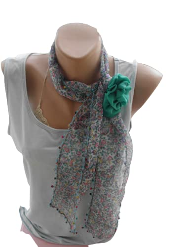 Hand crocheted fringed Scarf Women sale El Paso Mall Lace Floral Sc Cotton
