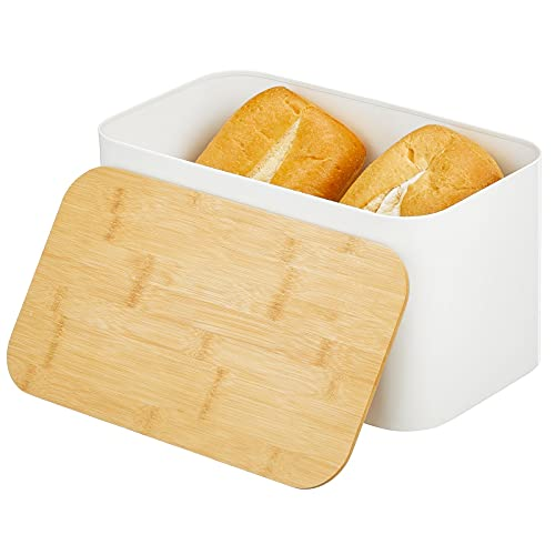 mDesign Metal Bread Box Bin with 100% Bamboo Wood Lid for Kitchen Countertop, Island and Pantry Storage - Large Capacity Storage - Matte White/Natural Top