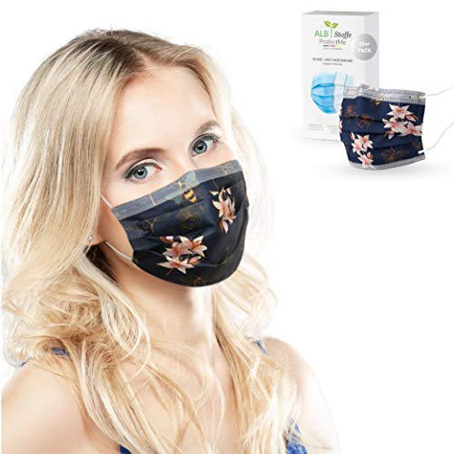 ALB Stoffe® ProtectMe - Einwegmasken LILLY, 100% Made in Germany, Nasen-Mund-Masken bedruckt, OP Masken bunt, 20er Pack