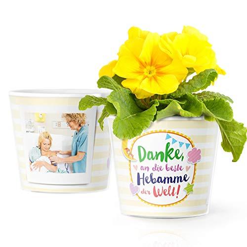 Geschenke für Hebammen Blumentopf (ø16cm) | Geschenk zum Danke Sagen nach der Geburt oder Schwangerschaft mit Bilderrahmen für 2 Fotos (10x15cm) | Danke an die Beste Hebamme der Welt